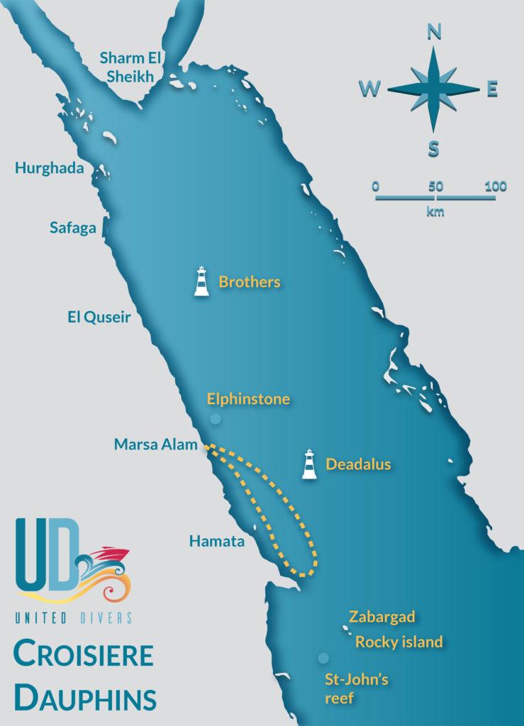 Itineraire Croisiere Dauphins avec United Divers Egypt