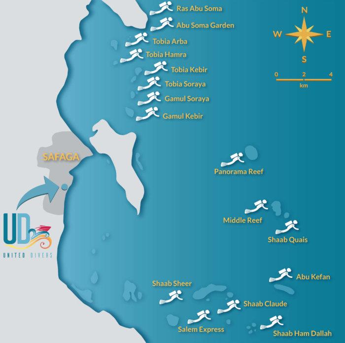 Carte de localisation des sites de plongée proposés par United Divers Egypt Safaga